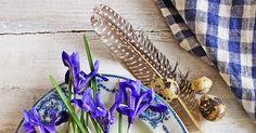Gammelt stentøy er fortsatt en favoritt hos meg...og helst med blått og grønt mønster !  Sammen med egg...fjær...og løkblomster kjenner j...