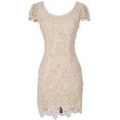 Lily Boutique Nila Crochet Lace Capsleeve Pencil Dress in Beige - DRESSES Lily Boutique $45