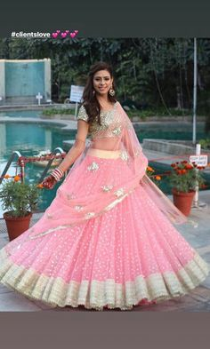 Pink heavy embroidered Indian wedding bridal lehenga choli with embroidered dupatta Indian Bridesmaid Dresses, Indian Bridal Outfits, Indian Gowns Dresses, Indian Designer Outfits, Wedding Dresses, Half Saree Designs, Choli Designs, Lehenga Designs, Half Saree Lehenga