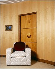 ELTHAM PALACE, Greenwich, London. Interior view of Virginia Courtauld's bedroom. Detail of chair and door inlaid with marquetry..