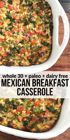 This Mexican Breakfast Casserole is a hearty way to start your day or entertain guests. Plus it's dairy free so you can enjoy it while on Whole 30 or just living a clean eating lifestyle.