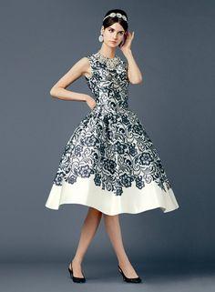 Dolce&Gabbana Spring Summer 2014 Lace Print Duchesse Midi Dress