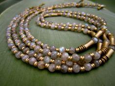 Two piece necklace, Brass jellewry, Labradorite jewellery , Gypsie necklace, Beaded necklace, Ethnic necklace,tribal necklace,boho jewellery