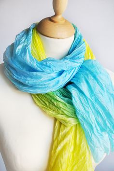Silk Scarf, Hand Dyed silk Scarf, Hand painted silk scarf, yellow scarf, azure , blu, gift for here, Scarf Handpainted, ukraine flag colors scarf