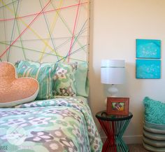 Aqua, Coral and Mint Girl's Room with Custom String Art Headboard in Maine Stream Synergy 2 Show Room for Hopewell Residential.By Wise Home + Design