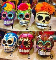 Image of Paper Mache fine skulls 2 Mexico Day Of The Dead, Day Of The Dead Mask, Day Of The Dead Party, Day Of The Dead Skull, Sugar Skull Painting, Sugar Skull Art, Sugar Skulls, Mexican Crafts, Mexican Folk Art