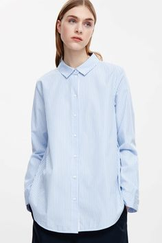 COS image 2 of Slim-fit cotton shirt in Pale Blue