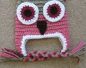 Baby Newborn Girl Owl Hat with Braided Tassels In Pink Photography Prop