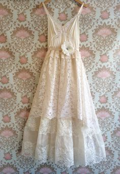 ivory whisper pink chiffon & lace tiered by mermaidmisskristin