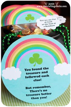 "I made a ""LUCKY"" treasure hunt to share today…with 8 ""generic"" clues so that you can use it at home with your little ones."