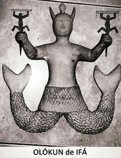 Olokun is the Deity of the Bottom of the Ocean of the West African Yoruba People. At one time She was the Goddess of all Waters and all of the Oceans, for Her name means Owner (Olo) of Oceans (Okun).