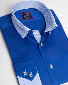 Mens designer shirt | Unique reverse collar shirt for men - Miami Blue