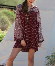 Rust & White Paisley Bell-Sleeve Shift Dress, but I would wear it as a top, with leggings