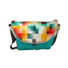 Red Blue Green Yellow White Abstract Pattern Small Messenger Bag - fun gifts funny diy customize personal