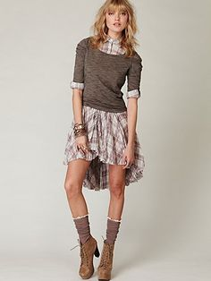 Plaid shirt dress.  Great with leggings and boots.