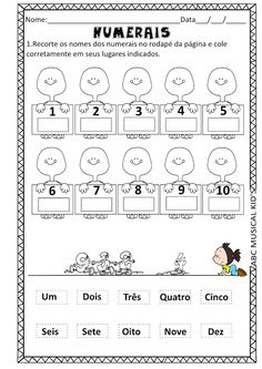 ATIVIDADES DE EDUCAÇÃO INFANTIL  E MUSICALIZAÇÃO INFANTIL: MATEMÁTICA - NUMERAIS 1 A 10