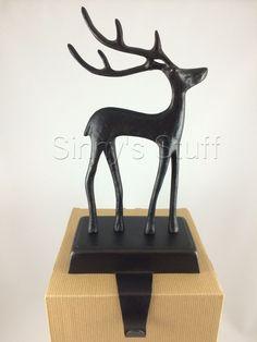 NIB Pottery Barn Bronze Reindeer Stocking Hanger Holder Santau0027s Sleigh  Christmas #PotteryBarn