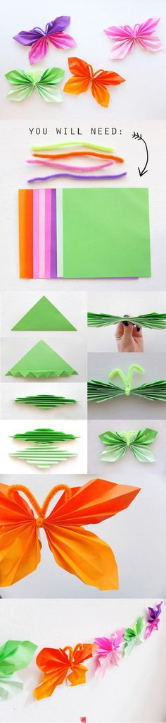DIY : Folded Paper Butterfly by Hairstyle Tutorials - KITA/ Krippe Basteln,Malen, Spielen - Origami Kids Crafts, Crafts To Do, Easter Crafts, Craft Projects, Arts And Crafts, Craft Tutorials, Butterfly Party, Butterfly Crafts, Butterfly Mobile