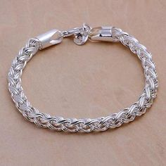 cool Women 925 Silver Plated Love Twist Cute Charm Chain Bracelet Bangle Jewelry Gift - For Sale View more at http://shipperscentral.com/wp/product/women-925-silver-plated-love-twist-cute-charm-chain-bracelet-bangle-jewelry-gift-for-sale/