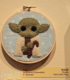 "EPBOT: ""Sew Nerdy!"" - Yoda felt sewing embroidery hoop star wars geek nerd geeky nerdy diy craft"