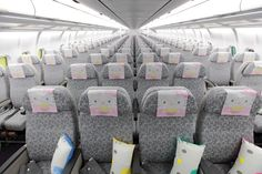 the interior of Hello Kitty Airways (omg where do they fly)