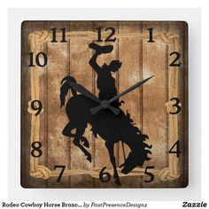 Rodeo Cowboy Horse Bronco Silhouette Square Wall Clock Cowboy Horse, Wall Clocks, Hand Coloring, Rodeo, Silhouette, Horses, Display, Artwork, Prints