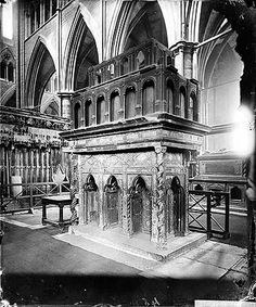 A perspective view of the shrine of Edward the Confessor. The century shrine was dismantled during the English Reformation and crudely re-constructed in the reign of Mary I. It was the site of pilgrimage for many years. European History, British History, American History, English Reformation, Mary I, English Heritage, Anglo Saxon, Pilgrimage, Continents