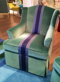 """Wesley Hall 310 N. Hamilton St. S106 Audrey Chair in Banks and Billiard with a 3"""" band in Rafael Indigo and adorned with a Greek key tape"""
