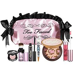 Too Faced Natural Flirt Makeup Collection - Exotic Color Intense Eye Shadow in Magic Mushroom/Petite Pouf Brush/LashGasm Mascara/Shadow Insurance in Candlelight/Pink Leopard Brightening Bronzer/ Glamour Gloss in This Is Pretty!/Cosmetic Case
