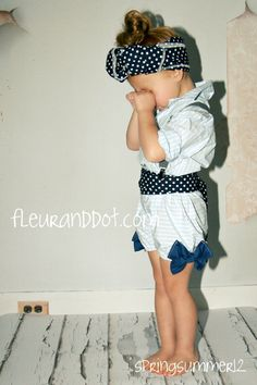 5 piece Children Clothing set Blouse Bubble Bow by FleurandDot, $180.00