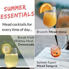End of Summer Essentials // A mead cocktail for every occasion! We love the creativity of making mead, and we love the creativity of experimenting with mead's versatility! If you're in Southern California, you know that the heat of summer is just getting started. Luckily we've put together some recipes for summer mead cocktails that you can see for free on our website! (Link in profile)  The MEAD-MOSA is perfect for brunch, DEMONADE will cool you down and quench your thirst in midday heat…