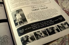 "Rustic Newspaper Wedding Program - ""Love is Sweet"" section was also included to guide their guests to the Candy Table ♥ #wedding #program #rustic"