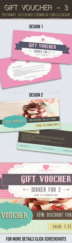 Buy Gift Voucher - 3 by apriliapratama on GraphicRiver. GIFT VOUCHER – 3 It is a gift voucher or discount coupon for your business such as restaurant, salon, fitness etc esp. Gift Voucher Design, Gift Box Design, Discount Vouchers, Coupon Design, Gift Vouchers, Gift Certificates, Banner Template, Print Templates, Love Gifts