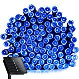 #7: Christmas Solar Powered String lights Addlon Fairy Outdoor string decorative lights 72ft 200 LED 2 work ModesSolar Ambience for Outdoor Garden Home Wedding Christmas partyWaterproof(Blue)