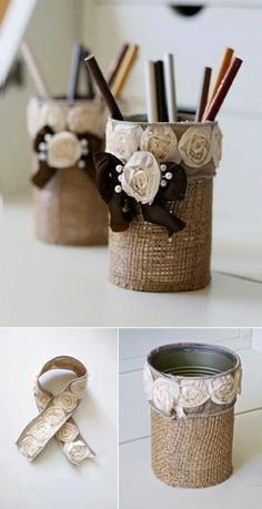 Reuse tin cans -I used slightly different materials but I love how it turned out