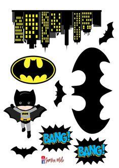 TOPPER PARA IMPRESSÃO EM FOLHA A4 DO TEMA BATMAN INFANTIL SIMBOLO DO BATMAN, BATMAN INFANTIL, SILHUETAS DE MORCEGOS, PRÉDIOS DECORATIVOS, BANG Batman Birthday Cakes, Batman Party, Superhero Party, Baby Batman, Lego Batman, Batman Arkham, Batman Robin, Birthday Party Themes, Boy Birthday