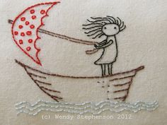 .wendalene at snapdragon.: She stood in the storm...  Weather embroidery project inspiration - pattern available in her shop