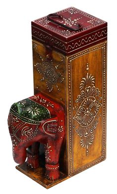 """Bulk Wholesale Handmade 13"""" Wine Bottle Holder / Box with Elephant Face in Red and Colorful Bright Motifs in Cone-Panting Art – Ethnic-Look Bottle Holders from India"""