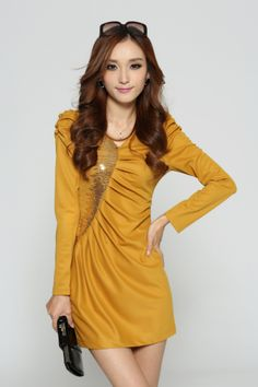 Long Sleeve Dress, Embroidered #Sequins, YRB0179, Black, #Yellow, Pink