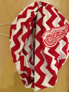 Detroit Red Wings Inspired Chevron Infinity Scarf by heatherskiba