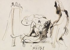 """Pablo Picasso. Peintre et modèles. 1968. India Ink on paper.  Zervos XXVII 276. Signed and dated """"31.08.68 I"""". On wove paper by Rives (with the watermark). 38 x 53 cm (14.9 x 20.8 in).  The rear side, as mentioned in the catalog raisonné of Zervos, has been separated.  With a photo confirmation by Maya Widmaier Picasso dated 10 Juli 2007.  PROVENANCE: Private collection Prejger, Paris."""