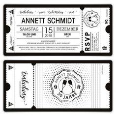 Geburtstag Einladungen - Schwarz-Weiß Ticket weiße Version  #Ticket #Eintrittskarten #Schwarz #Weiß #Black #White #blackandwhite #Geburtstag