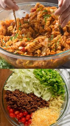 Everyone loves this simple and easy Taco Pasta Salad recipe! Taco Salad Recipes, Pasta Recipes, Mexican Food Recipes, Soup Recipes, Cooking Recipes, Ethnic Recipes, Taco Pasta Salads, Easy Potluck Recipes, Rice Recipes For Dinner
