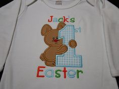 Personalized Easter Boy Shirt Monogrammed by kissesandgiggles