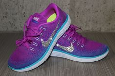eb78f6415a49 Bling Women Nike Free Run Distance Purple Turquoise White Training Walking  Shoes Customized With Clear Swarovski