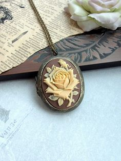 Ivory Rose Flower Cameo Brown Shabby Chic Large Locket Necklace Mom Birthday Necklace Anniversary Gift Brown Fall Vintage Inspired Necklace