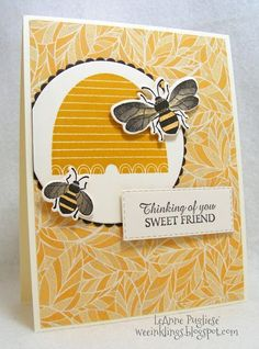 Honey Bee stamp set from Stampin' Up! Handmade Birthday Cards, Greeting Cards Handmade, Bee Cards, Bee Theme, Bee Happy, Get Well Cards, Scrapbook Cards, Scrapbooking, Paper Cards
