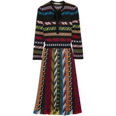 Mary Katrantzou Faye striped jacquard-knit dress (30 560 UAH) ❤ liked on Polyvore featuring dresses, orange, vintage style dresses, orange striped dress, striped dresses, jacquard dress and keyhole dress