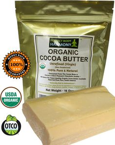 Certified Organic Cocoa Butter - 16.0 oz Bar (in Gold UV Protective Bag.) The finest Premium Unrefined and non-deodorized Raw Cocoa Butter. Imported from Peru.