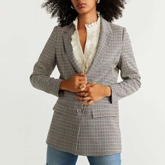 Mango Structured Suit Blazer In Plaid Plaid Blazer, Blazer Suit, Mango, Suits, Jackets, Closet, Stuff To Buy, Tops, Fashion